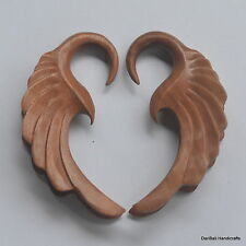 1 Pair Hand Carved Sawo Wood Floral Spiral Ear Expander Plugs Gauges 6G/4mm E6
