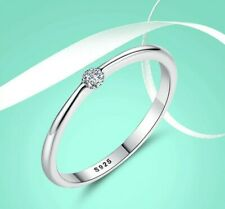 New! Solid 925 Sterling Silver Simple Cubic Zirconia Solitary Ring