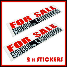 2 x For-sale-car-sign-Phone-n-WITH-MARKER-PEN-Cars-Boat-Label-Sticker