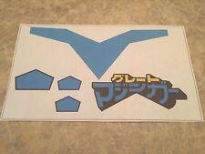 Blue Great Mazinga 3rd ed Jumbo Machinder Shogun Stickers Decals - VINYL -Mattel