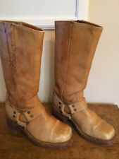 Vintage FRYE Tan Brown Leather Harness Boots 6.5 Mens 8 Womens USA Black Label