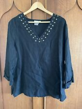 HOT COTTON Black Linen Tunic Top XLg Shirt Blouse ¾ Sleeves Bronze Nail Heads