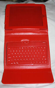 Folding Tablet Cover/Case Folio Red With Bluetooth Keyboard Tested Works