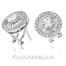 Genuine Diamond Cluster Earrings 2.50ct Round Brilliant Cut F VS in 18ct Gold