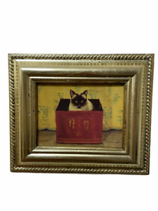 Paul Stagg Vintage Ornate Gold Gilt Wood Framed Printed on Canva Painting Cat