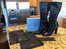 Prada Women's Black Leather Boots Size 40 With Box And Dustbag