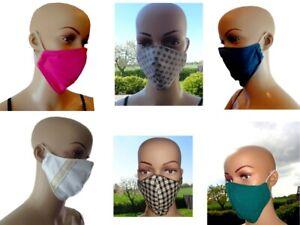 Mund Nasen Bedeckung Maske mehrfabig Baumwolle Gesichtsmaske uni Grün Blau