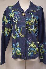 Choices Jean Denim Jacket Applique Blue/Green/Pink Size M Snap Buttons