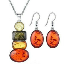 Women's Silver Plated Amber African Jewelry Sets Necklace Earrings Wedding Sets