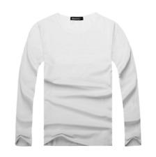 Men's Round Neck Cotton T-shirt Slim Fit Long Sleeve Solid Color Base Shirt