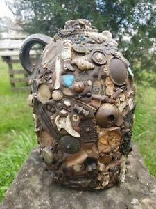 Victorian Era Memory Jug Spirit Jar Folk Art Stoneware Circa 1900 Gold? Badges