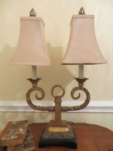 Uttermost Hollywood Regency Double Shade Desk/Table Lamp Antique Gold and Black