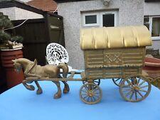 VINTAGE LARGE & VERY HEAVY BRASS HORSE & ROMANY GYPSY CARAVAN ORNAMENT