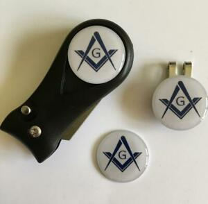 Golf Switchblade Pitchfork Magnetic Hat Clip With 3 Masonic Markers