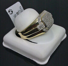 10K Men's Yellow Gold Ring With Paved Diamond 0.33CT /Men's Band, Pinky Ring