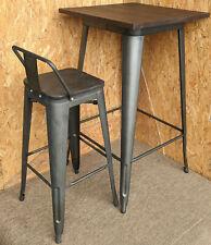 More details for tolix tarnished metal bar stool table set wood seat retro bistro cafe restaurant