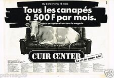 Publicité advertising 1985 (2 pages) Canapé Cuir Center