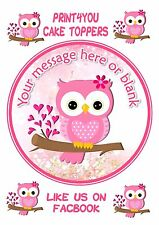 ND5 Pink owl mum daughter sister Birthday personalised round cake topper icing