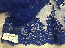 60 Yard Royal Blue French Corded Flowers Embroider In A Design Mesh Lace.