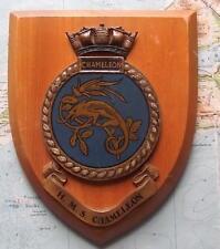 VINTAGE OAK HMS CAMALEONTE dipinti a mano Royal Navy Ship STEMMA SCUDO TARGA