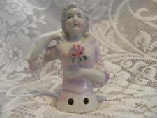 Japan Half Doll Pin Cushion 3 1/4 inch Pink dress 1 arm away