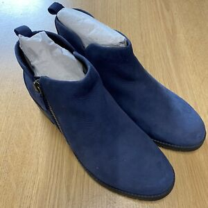 Hush Puppies Navy Leather Ankle Boots UK5