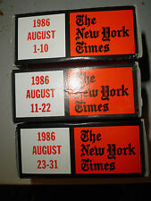 August 1986 New York Times on MICROFILM - 3 reels of film