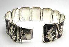 Vintage Siam Sita 925 Sterling Silver Link Bracelet Size- 6