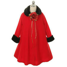 Jacket Coat Fur Fleece Trim Party Formal Winter Fall A-Line Flower Girl Dresses