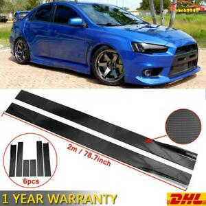 Carbon Look Side Skirt Extension Rocker Splitter For MITSUBISHI LANCER EVO X 10