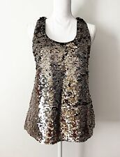 NWT $70 Guess Tank Top Size M Sequin Sparkle Shiny Bronze Y-Back Racer Scoop