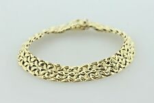 "DGI Italy 14K Yellow Gold Textured Wave Design Ridged Style Link Bracelet 6.75"""