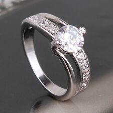 Engagement ring designer styling 18kt white gold filled band large stone Q
