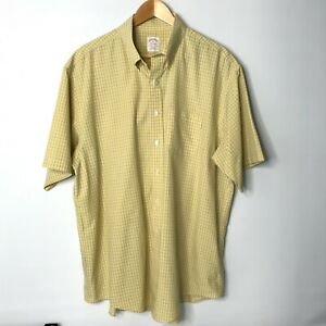 Vintage Brooks Brothers Mens Short Sleeve Shirt Yellow Check Button Down Size XL