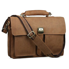 "Vintage Men Leather Briefcase 15.6"" Laptop Messenger Bag Tote Business Handbag"