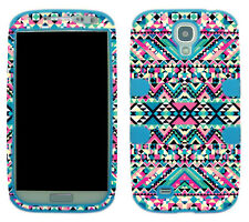 Hybrid Tuff Aztec  Blue Pink Tribal for Samsung Galaxy S 4 I9500 Case Cover