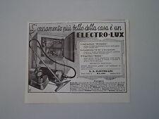 advertising Pubblicità 1934 ELECTRO LUX FRIGORIFERO/LUCIDATRICE/ASPIRAPOLVERE
