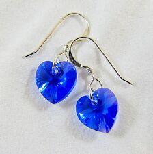 Sterling Silver Drop Earrings Swarovski Elements Crystal Sapphire Blue AB Heart