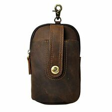 Mens Genuine Leather Tide Mobile Phone Pouch Camera Outdoor 7'' Waist Belt Pack