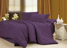 NEW 75GSM MICROFIBRE WRINKLE FREE KING FITTED FLAT SHEET SET - PLUM PURPLE