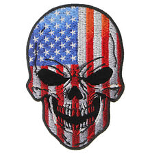 Embroidered American Flag Skull Sew or Iron on Patch Biker Patch