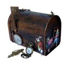 Alice in wonderland pocket watch necklace purse rabbit tEA TIme steampunk gothic