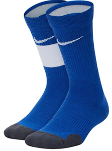 New Nike Kids Elite Crew 2-Pair Pack Socks Size Small Youth 10C-3Y Blue FREE SHP