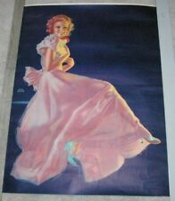 Large Lovely Vintage Blonde Pin Up Girl Print Pink Evening Gown Earl Moran
