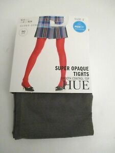 HUE Ultimate opaque control top tights 1 pair ~Size 2~ SEAL 90 Denier USA made