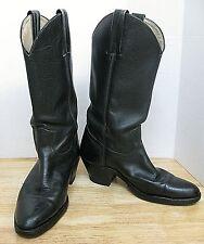 FANTASTIC--VINTAGE FRYE LEATHER COWBOY BOOTS--BLACK--MOTORCYCLE BOOTS--Size 9D