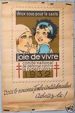 RENE VINCENT VINTAGE POSTER PREVENTION CAMPAIGN STAMP AGAINST TUBERCULOSIS 1932