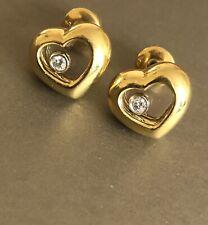 18ct Yellow Gold Solitaire Diamond Earrings Floating Diamond Happy Dancing Stud