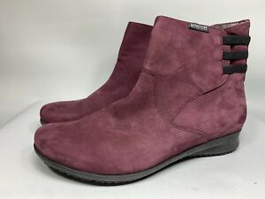 MEPHISTO AIR-JET Leather Wedge Side Zip Elastic Ankle Boots Women's sz 7