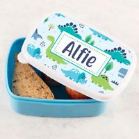 Personalised Boys Dinosaur Scene Blue Lunch Box Tub Lunch Sandwich School Tub